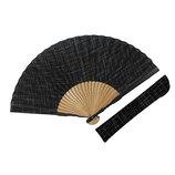 山岡白竹堂 紳士用扇子 ベーシックスタイル ベーシックDXセット 黒 扇袋付