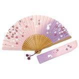 山岡白竹堂 婦人用扇子 なごみモチーフ さくらうさぎセット ピンク 扇袋付