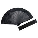 山岡白竹堂 紳士用扇子 ストリートカジュアル プールオムセット ブラック 扇袋付
