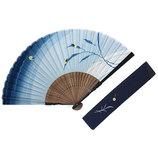 山岡白竹堂 紳士用扇子 和風伝統柄 夏風情セット 蛍 扇袋付