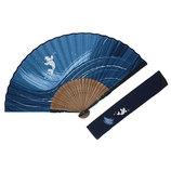 山岡白竹堂 紳士用扇子 和風伝統柄 夏風情セット 鯉 扇袋付