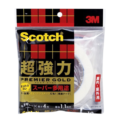 3m 超強力両面テープ プレミアゴールドスーパー多用途 sps-19 19mm×4m