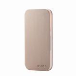【iPhone12/iPhone12Pro】 エレコム(ELECOM) レザーケース ミニオ(MINIO)手帳型 6.1インチ PM-A20BPLFMINTG トープグレー×ピーチピンク│携帯・スマホケース iPhoneケース