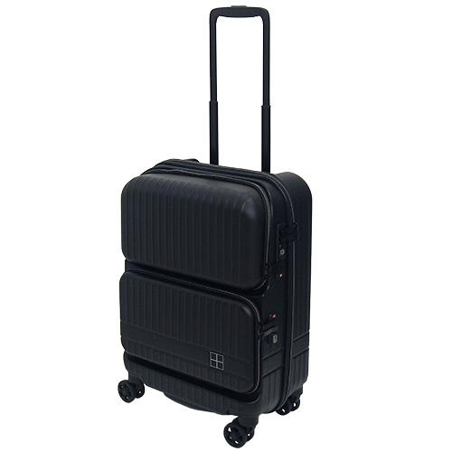 hands+ スーツケース インテンションシリーズ ダブルポケット 32L ブラック【メーカー直送品】お届けまで約1週間~10日間