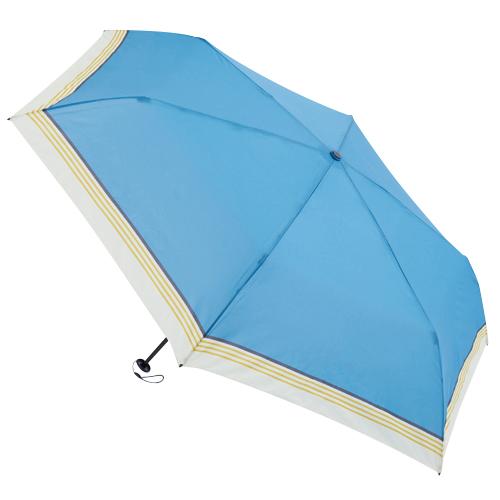 hands+ 超軽量簡単開閉折傘 50cm ブルーラインボーダー