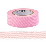マークス(MARKS) maste 水性ペンで書けるマスキングテープ 小巻 MST−FA12−C ストライプ・ピンク