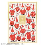 【クリスマス】サンリオ 版画風サンタいっぱい 083704│カード・ポストカード クリスマスカード