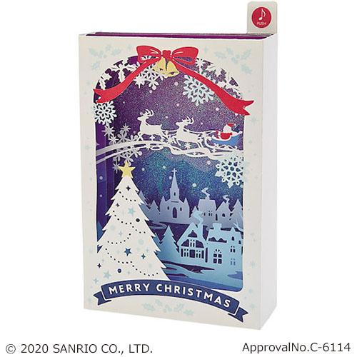 【クリスマス】 サンリオ ライト&メロディカード 箱形白枠街並みとソリサンタ 1700 JXPM5-0