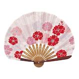 山二 婦人布扇 ぼたん桜セット 1081S 赤