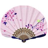 山二 婦人布扇子 メジロ桜セット 6619S ピンク