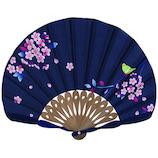山二 婦人布扇 メジロ桜セット 6620S 紺