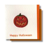 リーフワークカンパニー ハロウィンミニカード 刺繍カボチャ HW-033│カード・ポストカード グリーティングカード