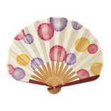 山二 婦人布扇子 丸菊 1067S ピンク 扇袋付