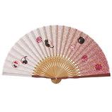 山二 婦人布扇子 まる紋ネコ 6516S ピンク 扇袋付