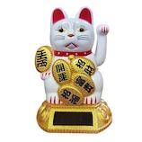 服部貿易 ソーラー猫白 A‐2│雑貨 招き猫・だるま
