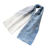 プランティア 藍染めガーゼマフラー ムラクモ(白)