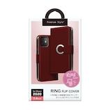 【iPhone12mini】 PGA リングフリップカバー レッド│携帯・スマホケース iPhoneケース