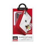 【iPhone12mini】 PGA ガラスフリップケース レッド