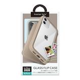 【iPhone12/12Pro】 PGA ガラスフリップケース ベージュ