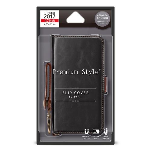 【iPhone8/7/6s/6】 PGA PremiumStyle フリップカバー PUレザーダメージ加工シリーズ PG-17MFP73BK ブラック