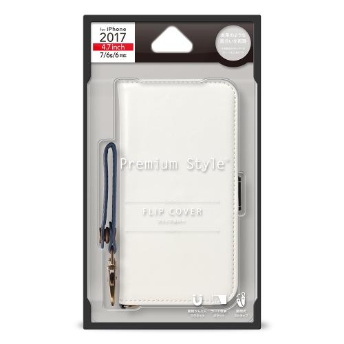 【iPhone8/7/6s/6】 PGA PremiumStyle フリップカバー PUレザーダメージ加工シリーズ PG-17MFP75WH ホワイト
