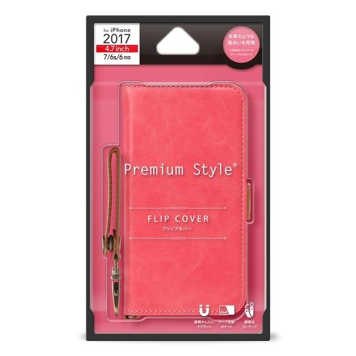 【iPhone8/7/6s/6】 PGA PremiumStyle フリップカバー PUレザーダメージ加工シリー PG-17MFP78PK ピンク