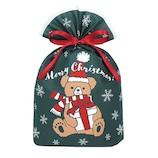 【クリスマス】 インディゴ グリーティングバッグ ギフトベア L XG153 ダークグリーン