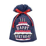 インディゴ バースデーバッグ Lサイズ PG363 ケーキ ネイビーブルー│ラッピング用品 ラッピング袋
