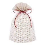 インディゴ 巾着袋 M PG854 麻の葉 金茶│ラッピング用品 ラッピング袋