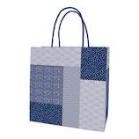 インディゴ 手提袋 M PC946 つなぎ文様 藍│ラッピング用品 手提げ袋