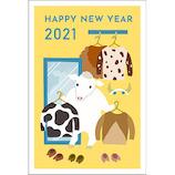 【東急ハンズオリジナル デザインコンペ年賀状】 2021年 丑年 年賀状 PBH-175 3枚入