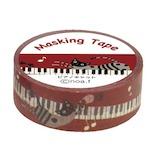 ノアファミリー マスキングテープ ピアノキャット P192PC 幅1.5cm×長10m巻