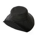 遮熱折りたためるクール日よけ帽子 ブラック×ドット│アウトドアウェア