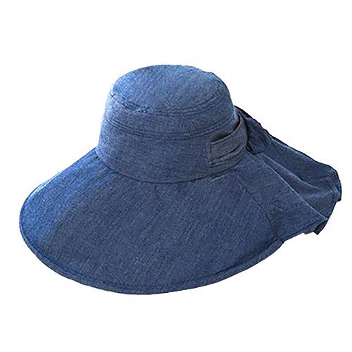 遮熱エレガントつば広帽子 デニム調│アウトドアウェア