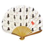 はな日和 扇子 ネコパターン H6044 ベージュ│夏物雑貨 扇子・うちわ(団扇)