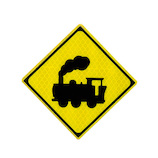 大蔵製作所 マグネットステッカー 警戒標識 踏切あり 汽車