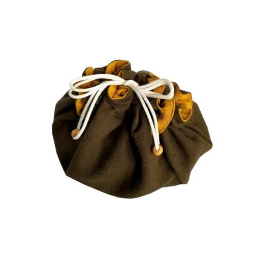 ママのアイディア工房 お弁当袋になっちゃう!!ランチクロス 黄金こがね 丸型 緑/黄金 Mサイズ