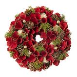 【クリスマス】ホワイエ リース レッド ウェーブ眠りコーンモケゴールドラメ S 029