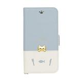 【iPhoneSE(第2世代)/iPhone8/7/6s/6】 ナチュラルデザイン (NATURALdesign) sakana to neko Bタイプ iP7-DISH01 ブルー