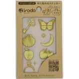 イロド(irodo) ファブリックステッカー ラッキーモチーフ2 90078 ゴールド/ベージュ│手芸・洋裁用品 装飾用品