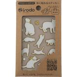 イロド(irodo) ファブリックステッカー キャット2 90100 ホワイト/ゴールド│手芸・洋裁用品 装飾用品