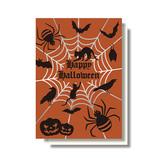 リーフワークカンパニー ハロウィンカード パンプキン&クモ HW-097│カード・ポストカード グリーティングカード