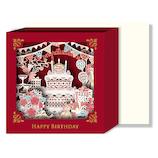 リーフワークカンパニー バースデーカード レーザーカットボックス ケーキ 51−053│カード・ポストカード バースデー・誕生日カード