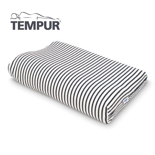 テンピュール スムースピローケース コンフォートピロートラベル/オリジナルネックピローJr用 白×紺
