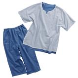 公大 和晒2枚重ねガーゼパジャマ メンズ L ブルー