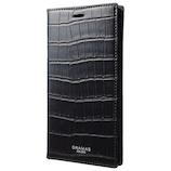 【iPhoneX】グラマス COLORS EURO Passione Croco Book PU Leather Case ブラック