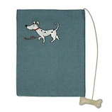 ドン・ヒラノ ブックカバー 文庫版 30215B おさんぽ犬 ブルー│ブックカバー・製本用品 ブックカバー