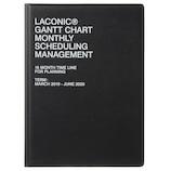 【2019年3月始まり】 LACONIC ハードカバー マンスリーガントチャート A5 ブラック 月曜始まり