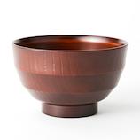 【お買い得】アサヒ興洋 会津塗汁椀 段筋木彫研出 赤茶│食器・カトラリー