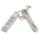 エルパ(ELPA) LEDスイッチ付タップ上ブレーカー 4個口 WLS-LU450SB(W) ホワイト│配線用品・電気材料 電源タップ・延長コード